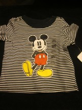 WDW DISNEY BABY MICKEY MOUSE  TEE T-SHIRT BLACK AND WHITE 0-3 MONTHS BRA... - $12.99