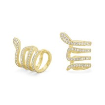 14 Karat Gold Plated Snake Ear Cuffs with Signity CZs - $38.25