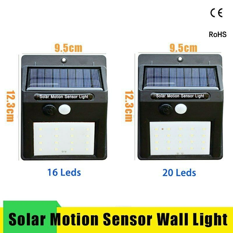 Led Solar Night Light PIR Motion Sensor Wall Light Waterproof 16/20/25/30 LEDs image 3