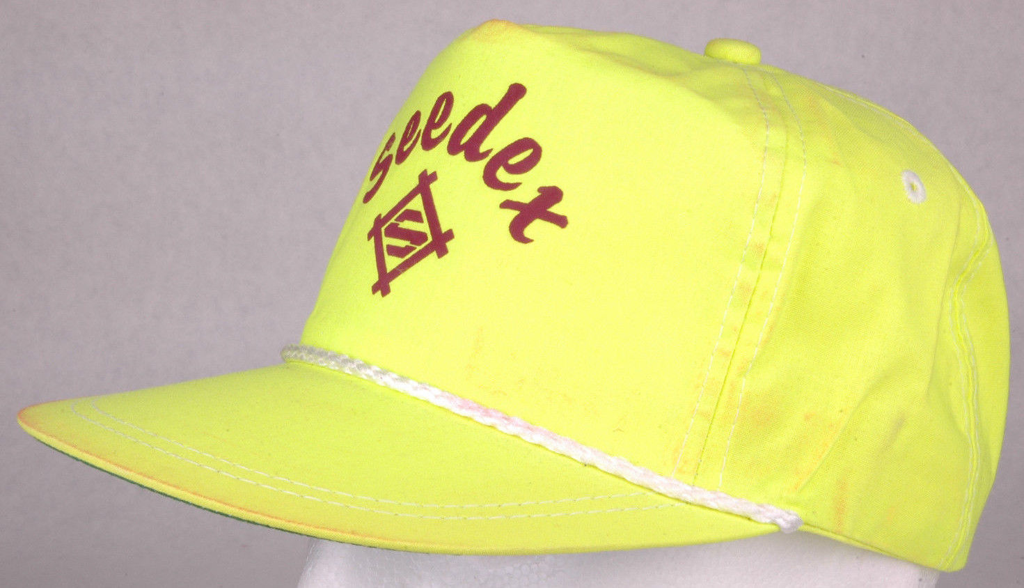 Vtg SEEDEX Hat-Yellow-Puff Letters-Agriculture Farm-Sugarbeet seeds-Rope Bill