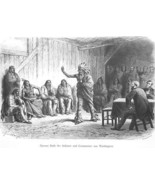 INDIAN CHIEF Speaking with Government Commissioners - 1883 German Print - $13.49