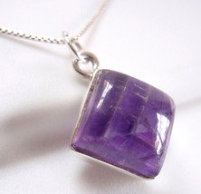 Amethyst Necklace 925 Sterling Silver Square Cube New #87m - $22.72