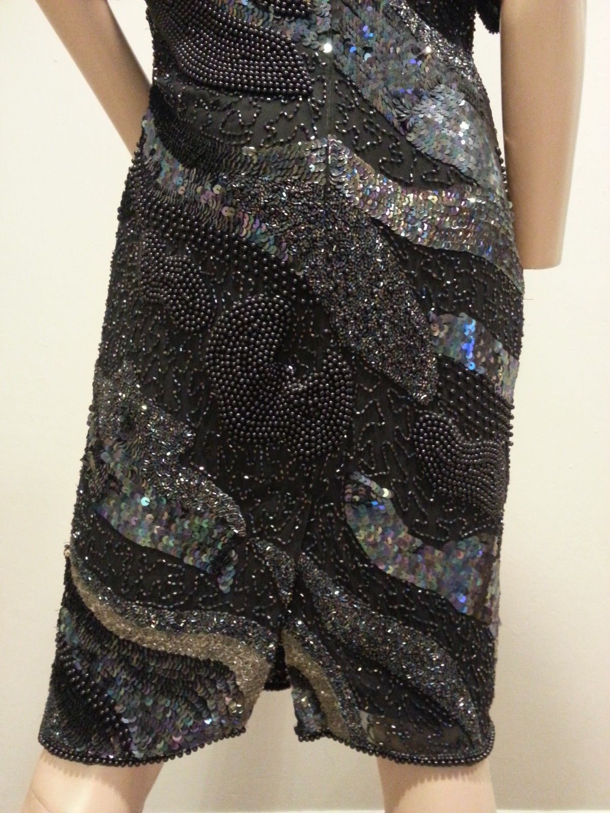 VTG Sequin Heavily Beaded Navy Black Silver Galaxy Space Silk Trophy Dress 8