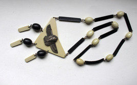 1920s Art deco Egyptian revival celluloid necklace with brass figure of ... - $225.00