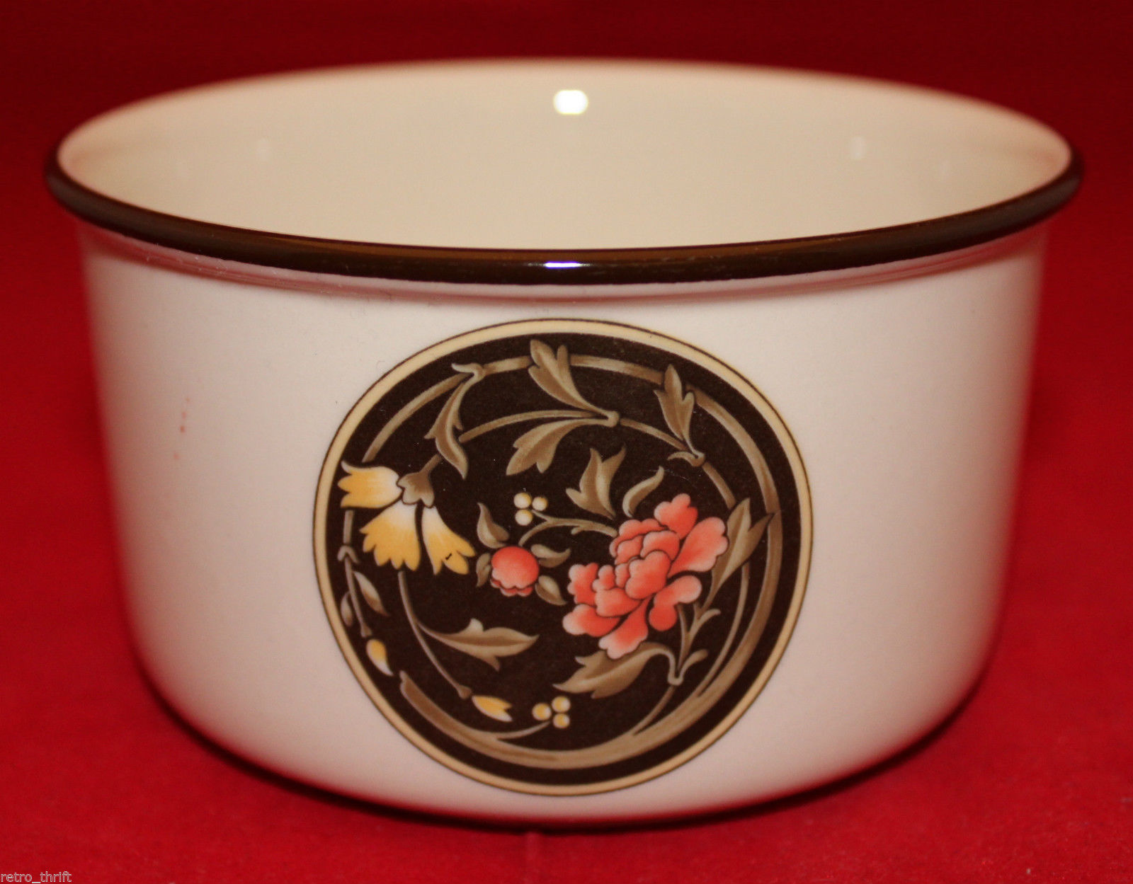 Vintage Wedgwood Mikado Open Sugar Bowl Brown Yellow Pink Flowers England Oven