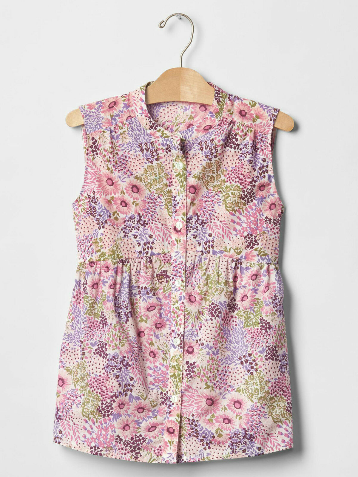 Primary image for GAP Kids Girls Blouse Top 10 Pink Purple Floral Sleeveless Shirred Cotton New