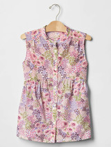 GAP Kids Girls Blouse Top 10 Pink Purple Floral Sleeveless Shirred Cotto... - $19.79