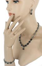 Vintage Sterling Marcasite 4 Ct Garnets Setnecklace Bracelet Earrings Pr... - $314.99