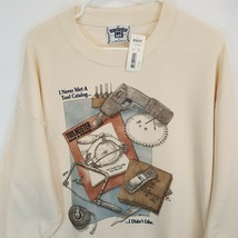 Vtg New Tools Wood Work Home Improvement Funny Dad Sweatshirt Sz L Handy... - $55.79