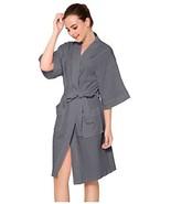 Womens Robe Cotton Kimono Waffle Lightweight Spa Bathrobe Belted with Po... - $24.13