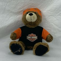 "Build A Bear Bearemy Teddy Bear 14"" Brown Harley Davidson Bandana & Shir... - $22.77"