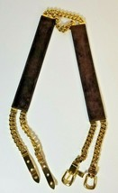 Vintage Gucci Womens belt Suede And Double Gold Tone Chain - $266.31