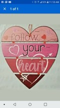 """' 'Follow Your Heart'' Foldable Hanging Sign Red Pink Glitter 11"""" X 12"""" - $7.31"""