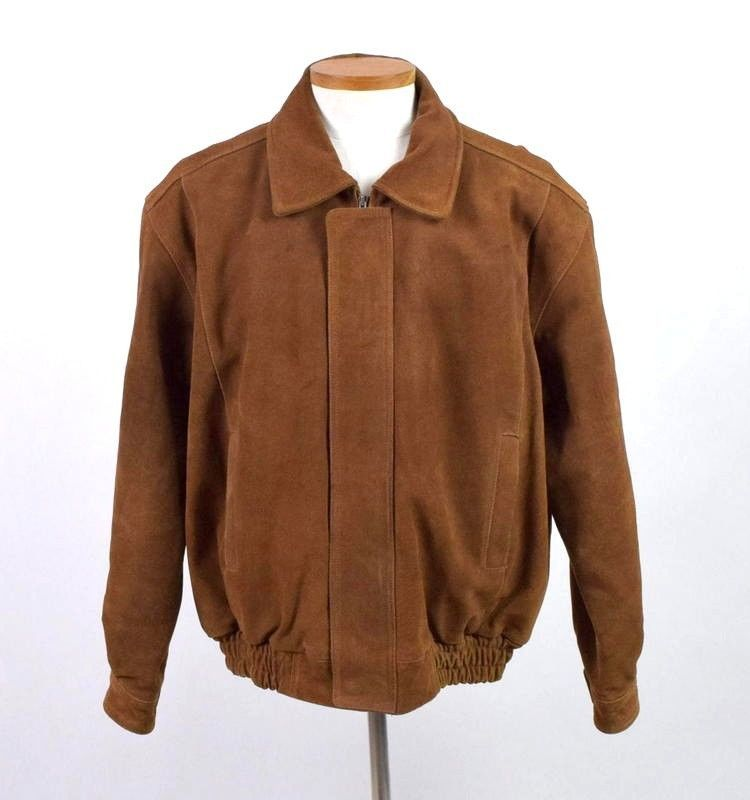 Primary image for Canyon Outback Heavy Brown Suede Leather Bomber Jacket Flight Quilt Lined Mens L