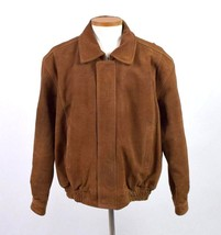 Canyon Outback Heavy Brown Suede Leather Bomber Jacket Flight Quilt Line... - $84.14