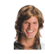 Wig - Adult - 70's Guy - Brown - Men Mens Long Hair Disco Shag Costume A... - $10.52