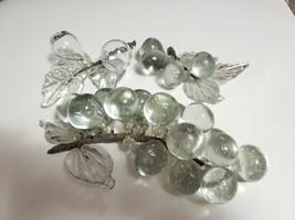 3 Pc Set MCM Hand Blown Studio Art Glass Clear Berry Grape Fruit Clusters - $16.83