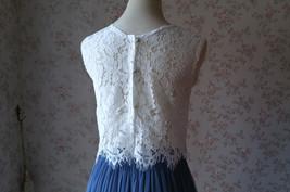 White Lace Sleeveless Crop Top Wedding Sleeveless Lace Blouse Round Neck US0-20 image 10