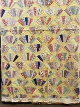 "Vintage Handmade Yellow Grandmothers Fan Pattern Quilt 76"" x 70"" Lightwe... - $158.39"