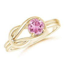 Solitaire Natural Pink Tourmaline Infinity Knot Ring Gold/Platinum - $607.70+