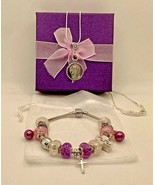 European Style Charm Bracelet & Sterling Silver Necklace Cross Mary Purp... - £28.52 GBP