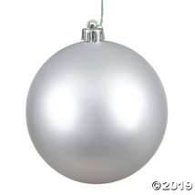"Vickerman 6"" Silver Matte Ball Christmas Ornament - 4/Box - $34.00"