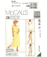 McCall's #8719 Woman's Day Collection Misses' 3-Hr Unlined Jacket & Dres... - $7.47