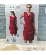 Vogue V1327 Sewing Pattern Anne Klein Dress Semi Fitted 14 16 18 20 22 - $7.22