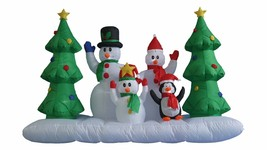 8 Foot Long Christmas Inflatable Snowman Family and Penguin Tree Yard De... - €105,77 EUR