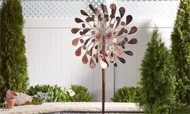 "84"" Iron Flower Design Wind Spinner Garden Stake Copper Color Layered & Sculpted"