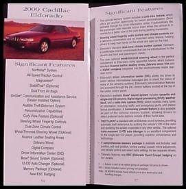 2000 Cadillac Salesman's Pocket Guide Book Brochure, Dealer only item