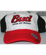 Dale Earnhardt Jr Budweiser Logo Racing White/Red/Black Baseball Cap Hat... - $18.37