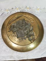 "1968 Vintage Korean Heavy Brass Raised Relief Hanging Wall Plate 12 1/4"" image 6"