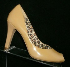 Jessica Simpson Ramonna beige patent leather peep toe slip on heels 10B 40 - $33.30