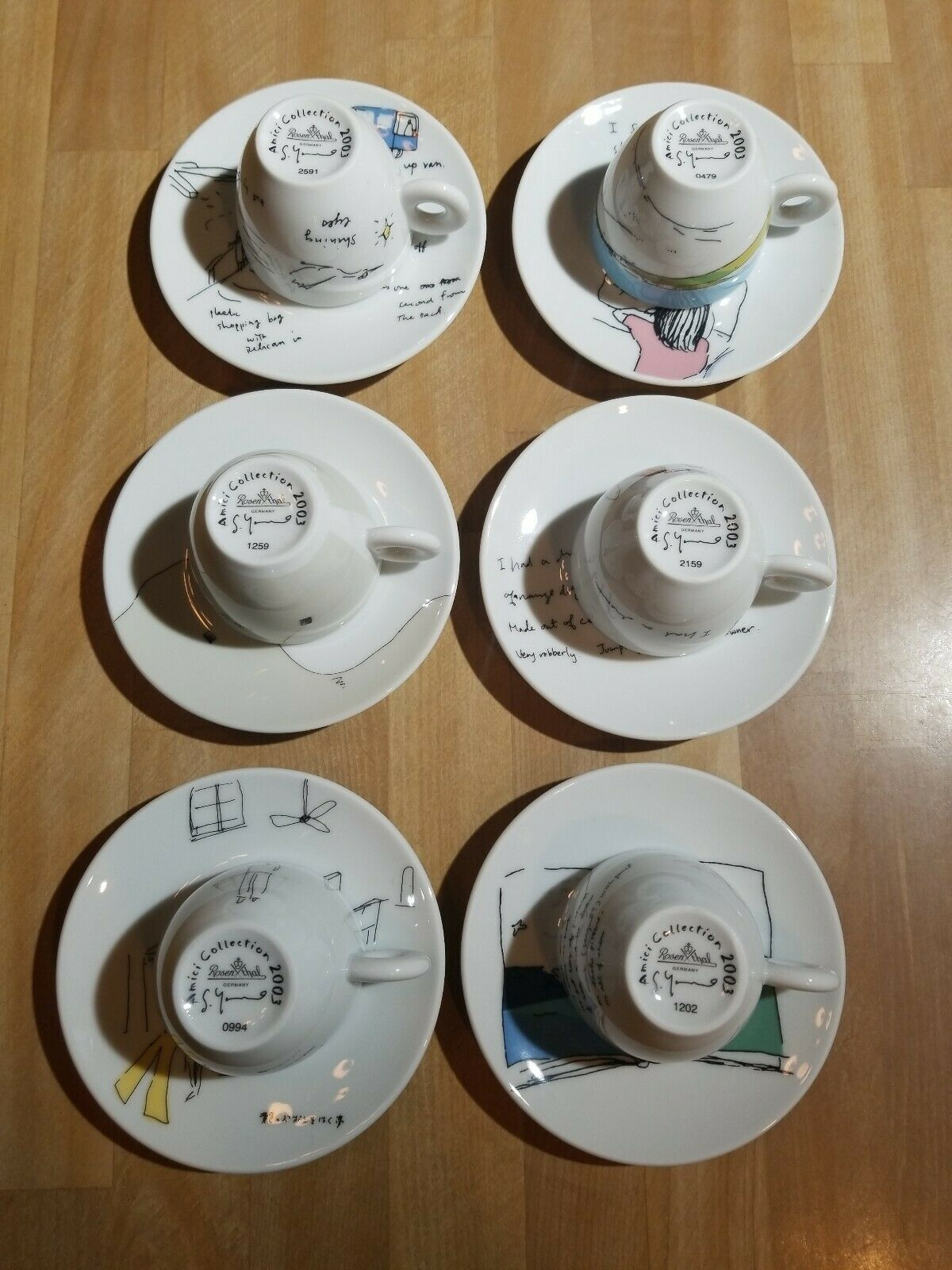 Primary image for Amici Collection 2003 DREAM - SHIZUKA YOKOMIZO Set of 6 Cups w/ Matching Saucers