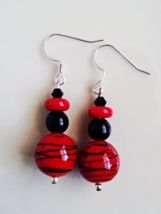 Red and Black Dangle Earrings - $10.00