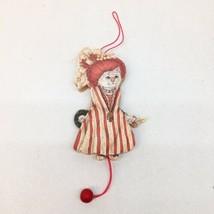 VTG Fancy Doll Cat Christmas Ornament Wood Pull String Jumping Jack Mova... - $11.39