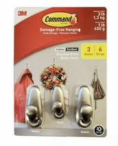 3M Command Brushed Nickel Metal Hooks 3 Hooks 6 Strips 1 Small 2 Medium - $11.87