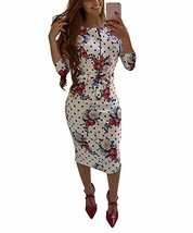 Ekaliy Womens Bodycon Midi Dress - Elegent Short Sleeve Floral Print Sli... - $49.98