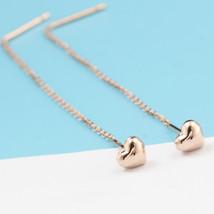 Ear Thread Series 18k Rose Gold Mesh Chain Heart Dangle Earrings image 2
