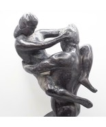 Mid Century Large Lovers Nude Embrace Chalkware Statue Leonardo Art Styl... - $296.99