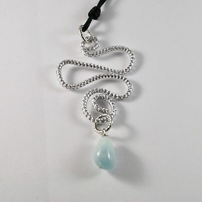 PENDANT ALUMINUM WITH AQUAMARINE NATURAL BLUE BLUE AND ROPE CORD