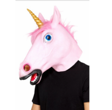 Adult Pink Unicorn Latex Overhead Fancy Dress Mask With Horn Costume Accessory - $44.08