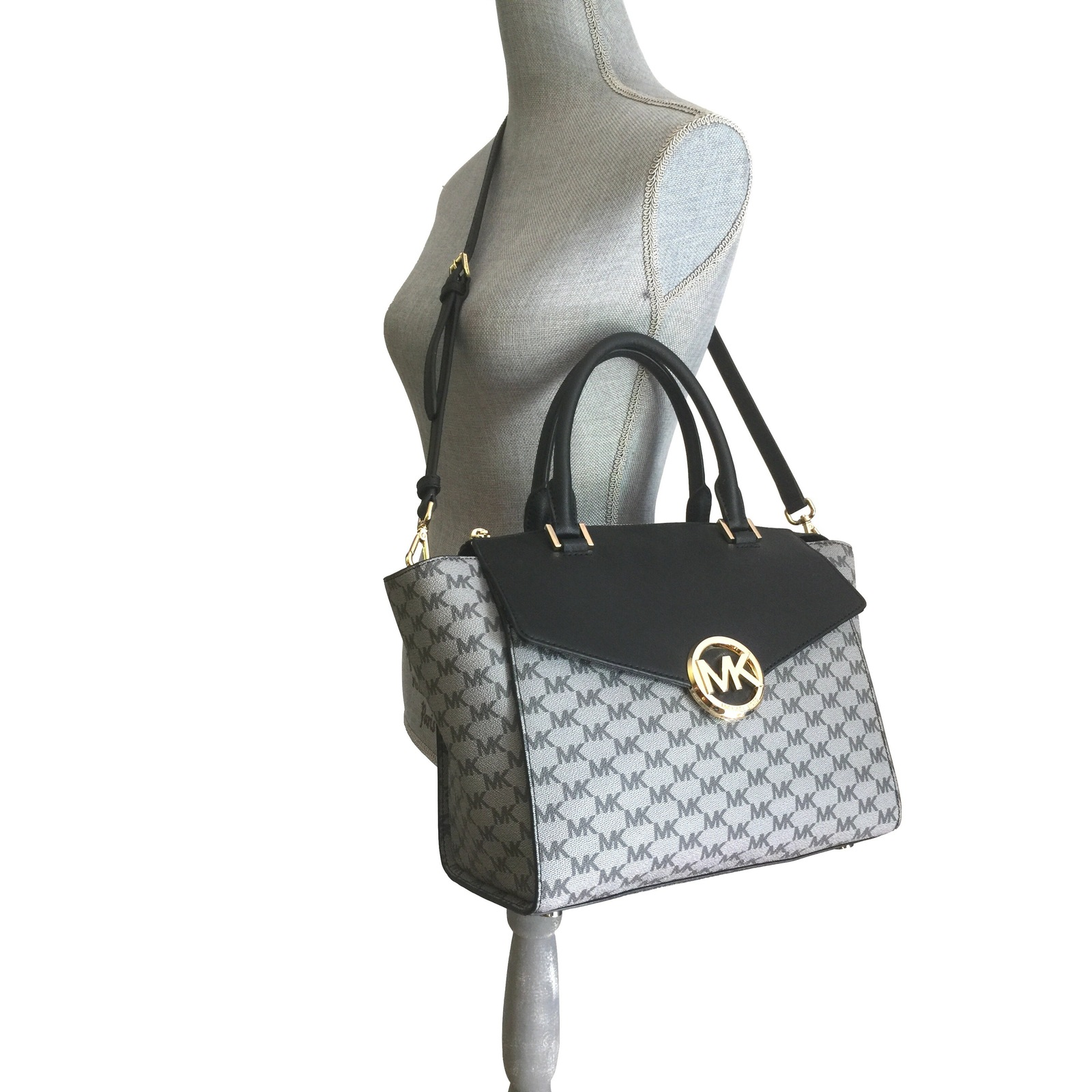5075a0fb29c5 MICHAEL KORS HUDSON LARGE SATCHEL BLACK GRAY MK LOGO PVC LEATHER BAG PURSE
