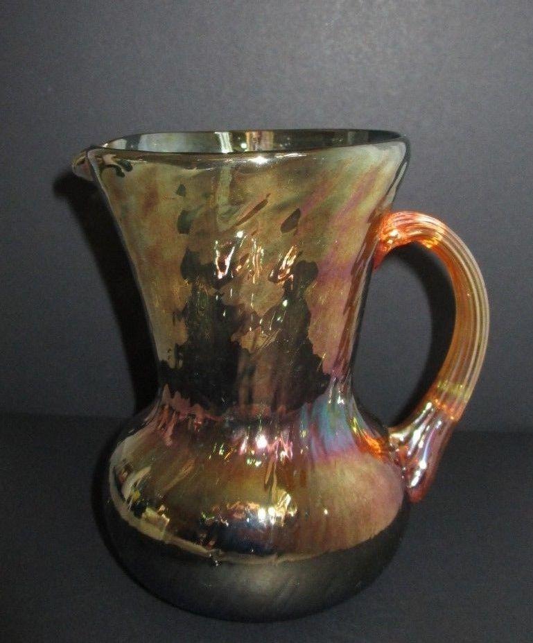 Vintage PILGRIM Blue w MARIGOLD Iridescent PITCHER REEDED HANDLE CARNIVAL GLASS!
