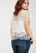 Forever 21 Plus Sizes XL/1X -SEXY Cream Crochet Mesh Sheer Panel Top-EUC - $19.79