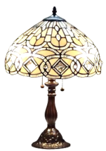 Amora Lighting Tifany Style AM021TL14 21-Inch Geometric Tabl Lamp White - $139.00