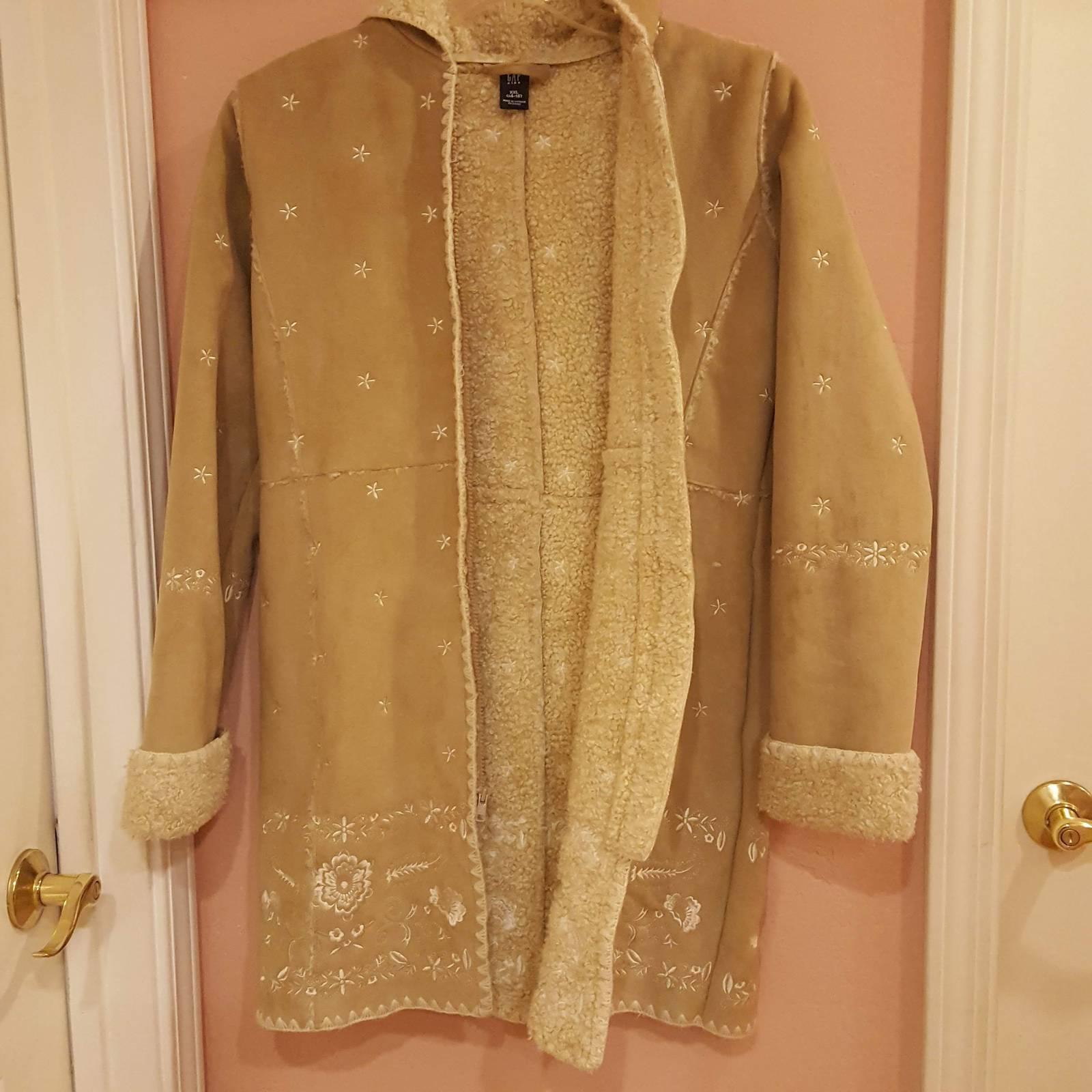 GAP GIRLS FAUX SUEDE BEIGE COAT XXL 14-16 with embroidery