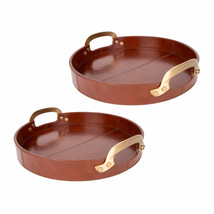 Ottoman Tray Luxury Quality Genuine Leather Serving Tray with Brass Handles - $137.00
