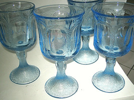 "Fostoria WOODLAND BLUE Set of 4 Water Wine Glass 6 7/8"" Blue Glass Excel... - $24.99"